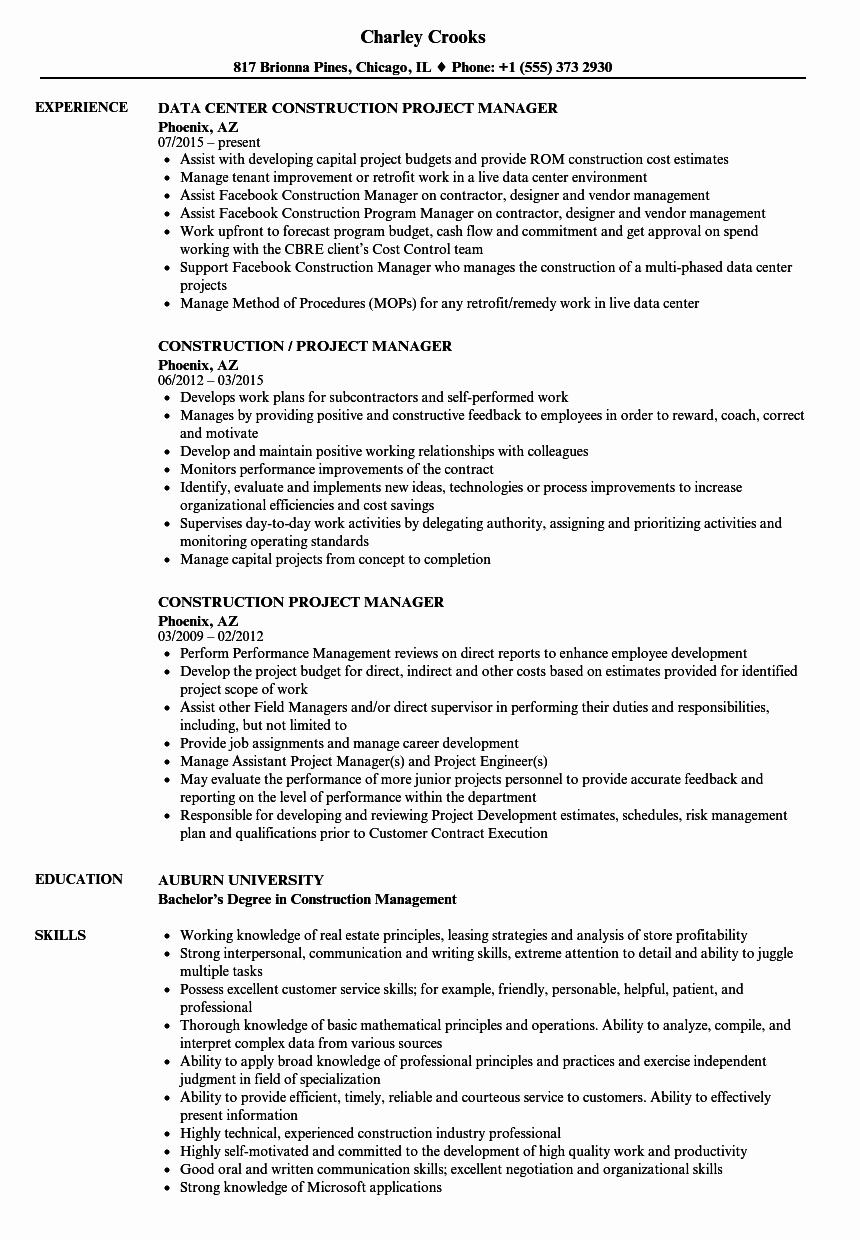 Project Manager Resume Template Unique Construction Project Manager Resume Samples