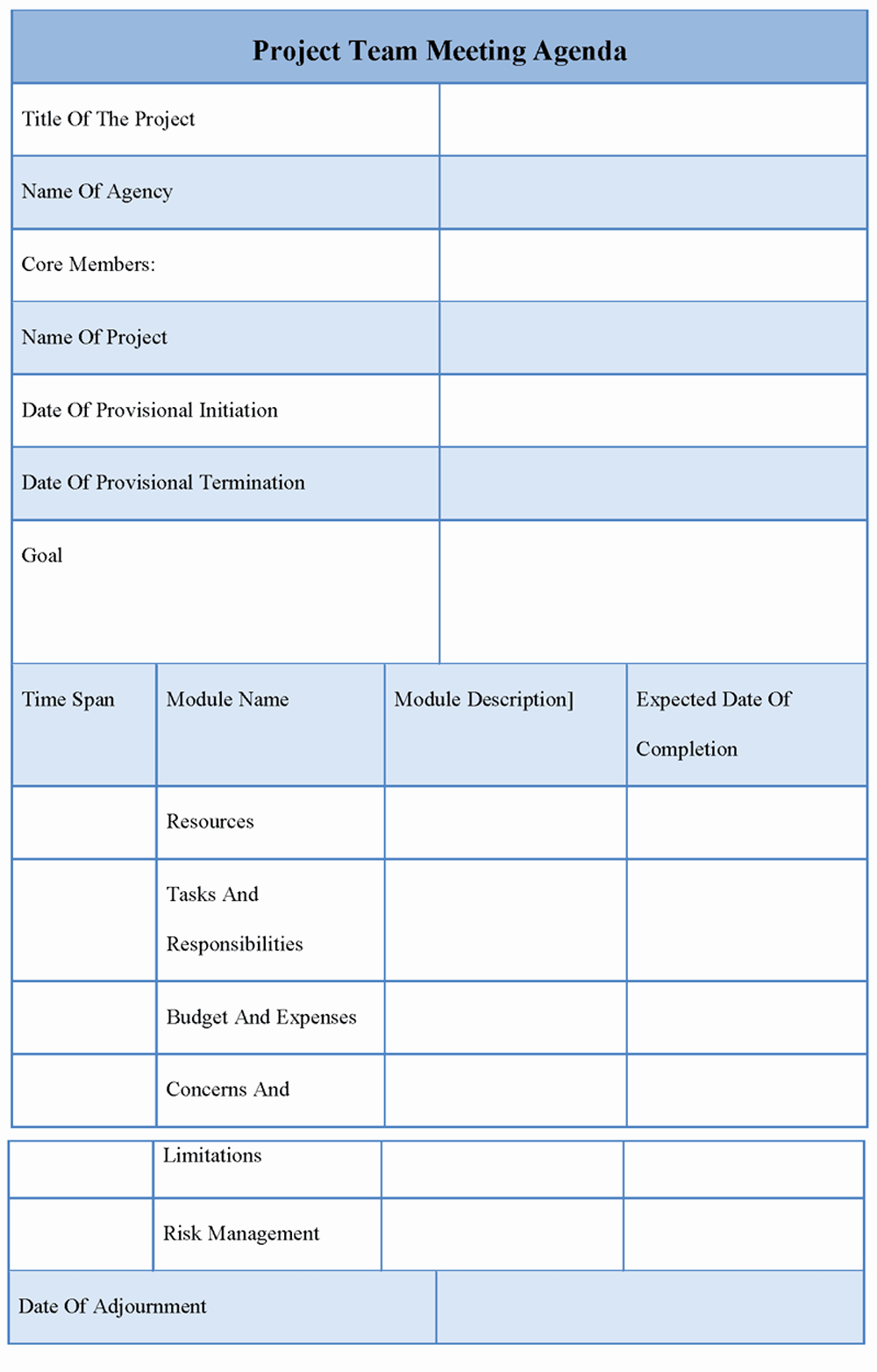 Project Meeting Agenda Template Awesome Agenda Template for Project Team Meeting Template Of