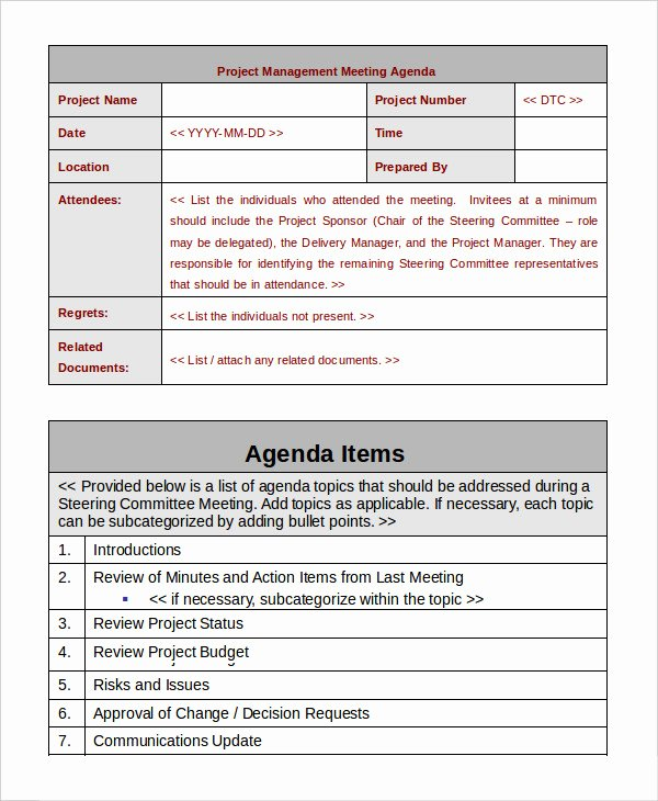 Project Meeting Agenda Template Elegant Project Management Template 10 Free Word Pdf Documents