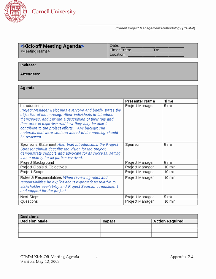 Project Meeting Agenda Template Fresh 10 Best Of Project Management Meeting Agenda
