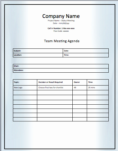 Project Meeting Agenda Template Fresh Project Team Meeting Agenda Template