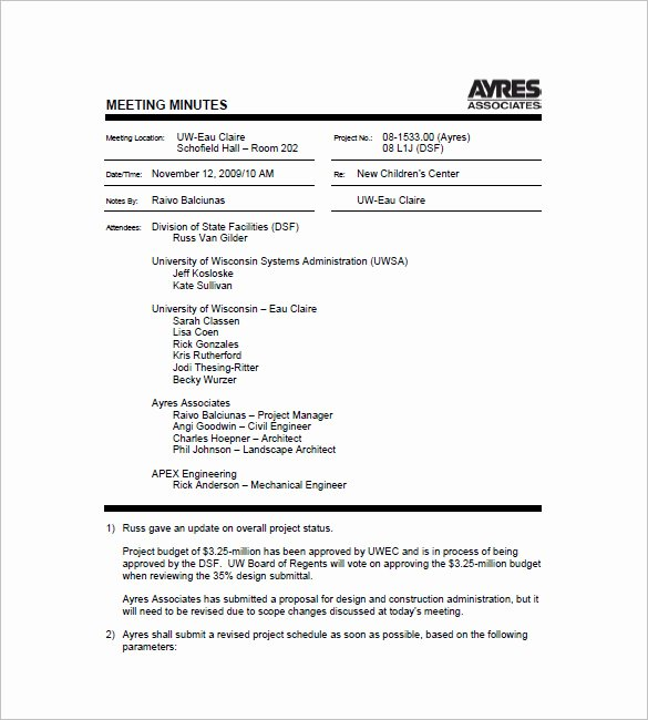Project Meeting Agenda Template Lovely Project Meeting Minutes Template 12 Sample Word Apple