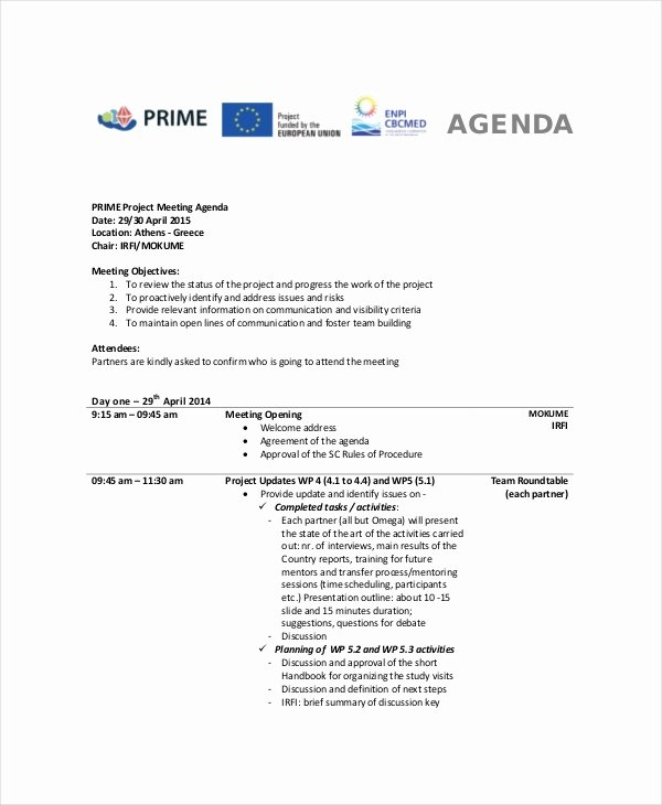 Project Meeting Agenda Template New 9 Project Meeting Agenda Template Word Pdf