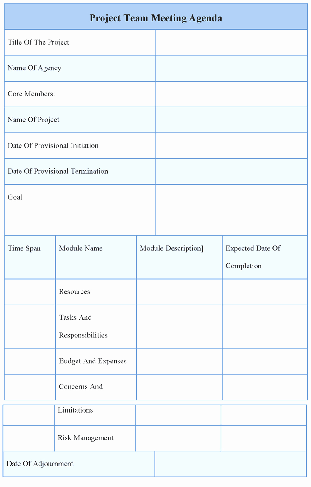 Project Meeting Agenda Template New Agenda Template Word Example Mughals