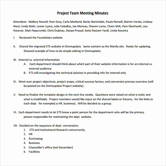 Project Meeting Minutes Template Beautiful Sample Project Meeting Minutes Template 13 Documents In