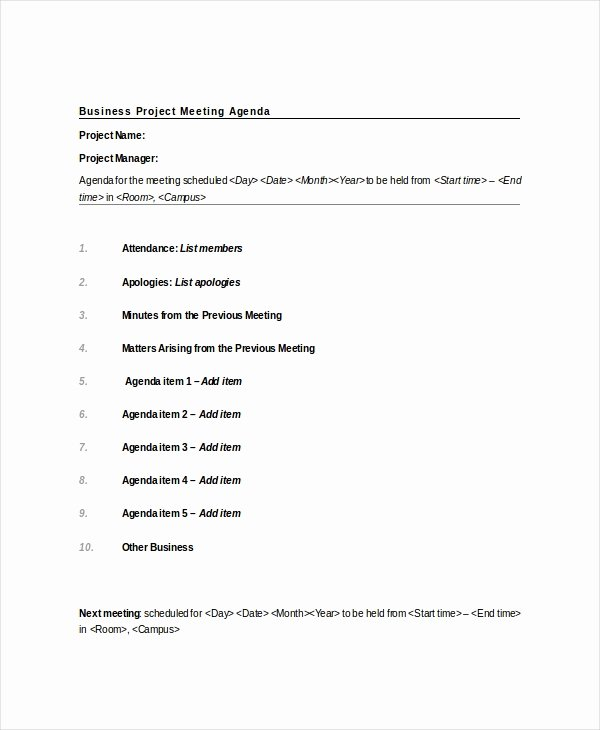 Project Meeting Minutes Template Inspirational 9 Project Meeting Agenda Template Word Pdf
