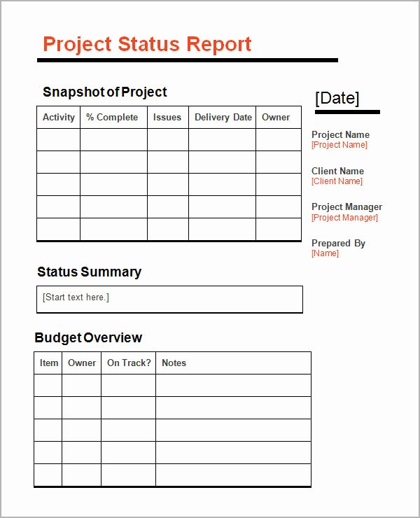 Project Progress Report Template Beautiful Sample Status Report Template 7 Free Documents Download