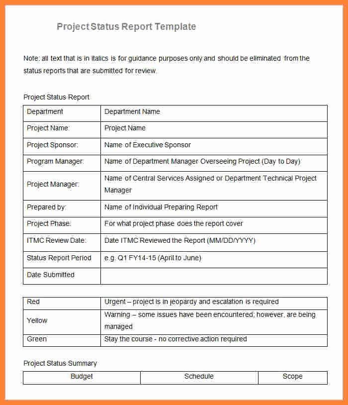 Project Progress Report Template Fresh 8 Sample Project Progress Report Template