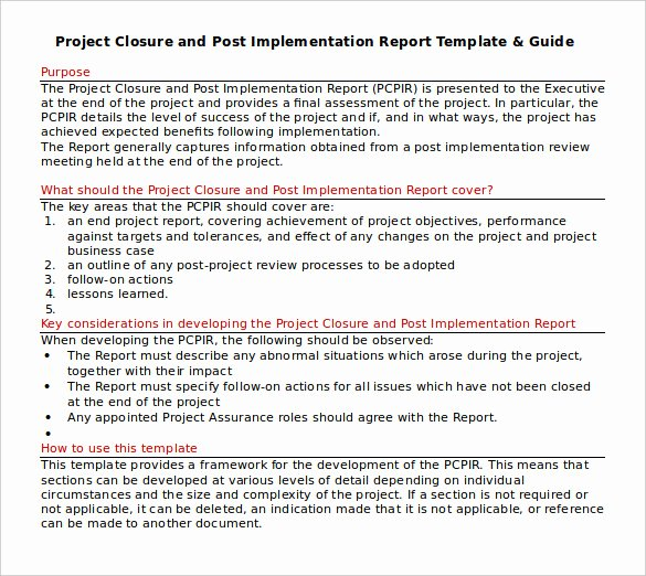 Project Report Template Word Fresh 9 Sample Project Closure Report Template Examples