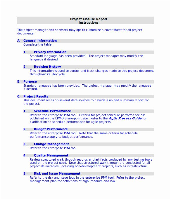 Project Report Template Word Luxury 9 Sample Project Closure Report Template Examples