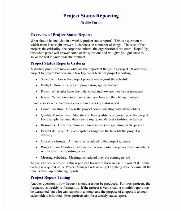 Project Report Template Word New Weekly Status Report Templates 27 Free Word Documents