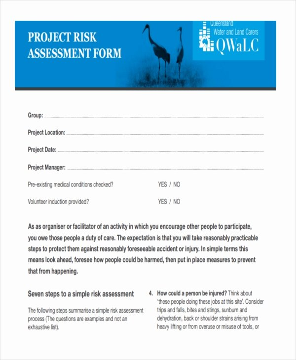 Project Risk assessment Template Beautiful 37 Risk assessment Templates