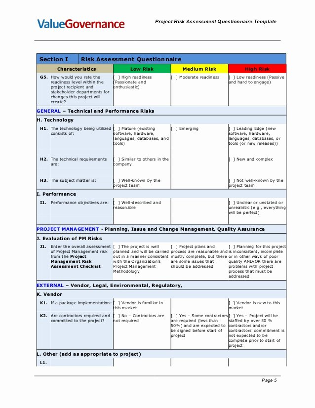 Project Risk assessment Template Beautiful Pm Pm001 03 Risk asessment Questionare Template