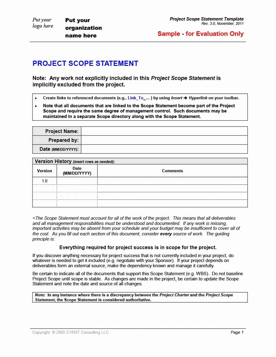Project Scope Statement Template Beautiful 43 Project Scope Statement Templates & Examples Template Lab