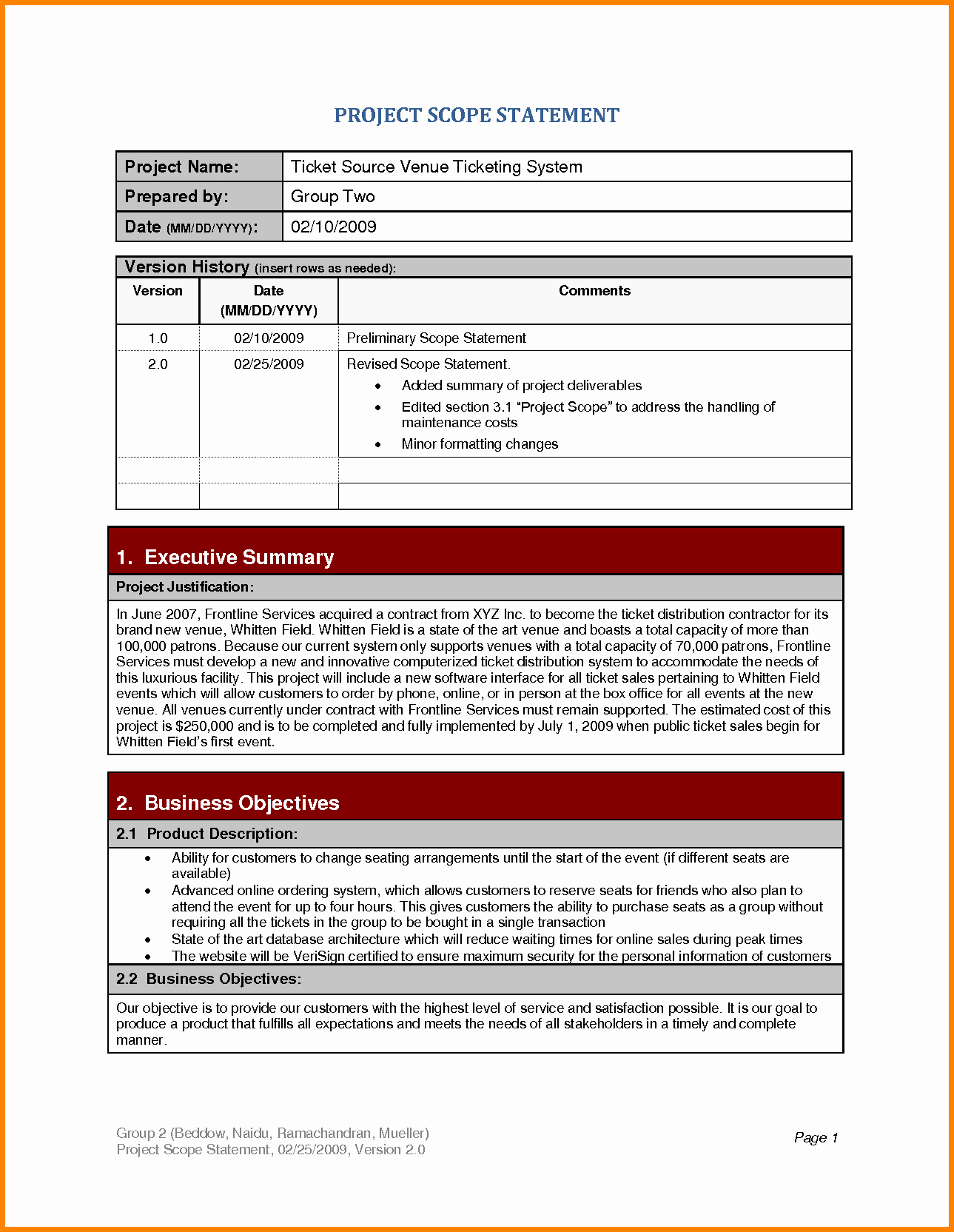 Project Scope Statement Template Beautiful 6 Example Of Project Scope Statement