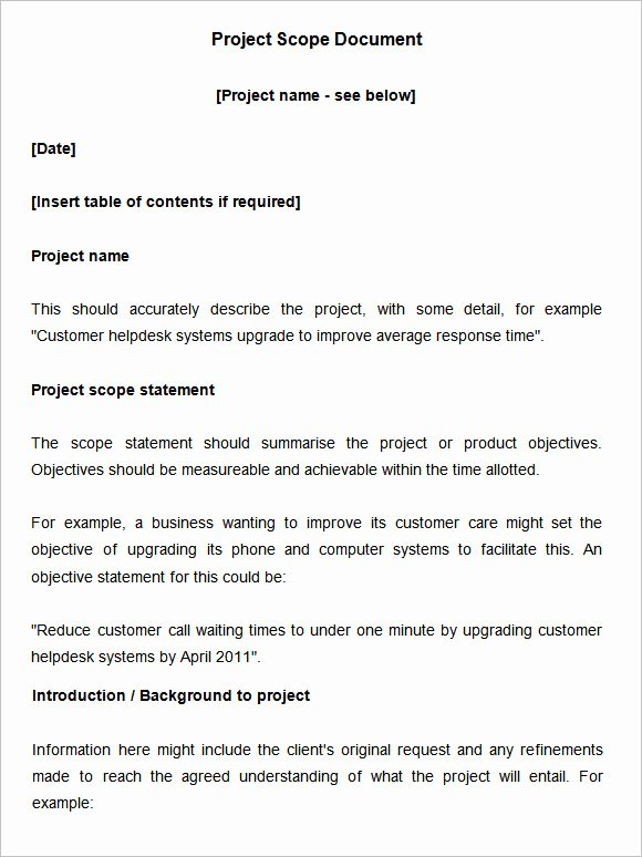 Project Scope Statement Template Beautiful Scope Of Work Template 36 Free Word Pdf Documents