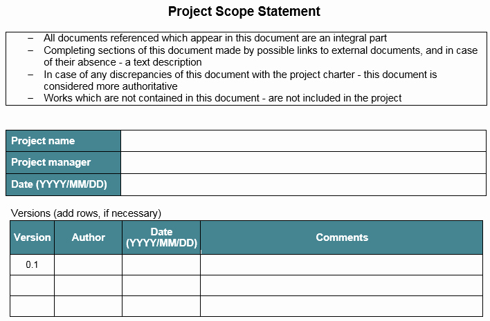 Project Scope Statement Template Best Of Template – Project Scope Statement – Great Project Manager