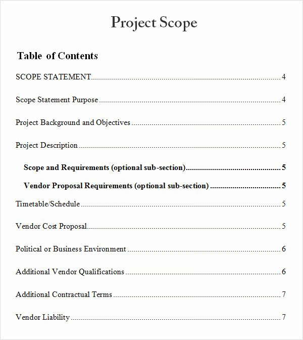 Project Scope Statement Template Fresh 8 Sample Project Scope Templates – Pdf Word