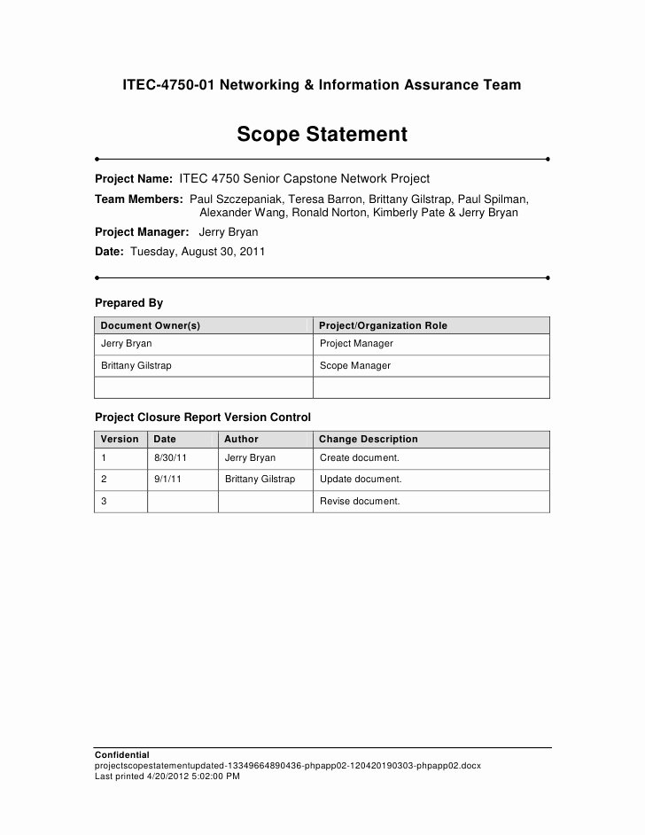 Project Scope Statement Template Luxury Project Scope Statement