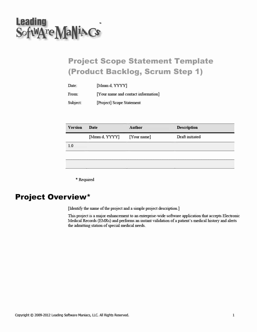 Project Scope Statement Template New 43 Project Scope Statement Templates & Examples Template Lab