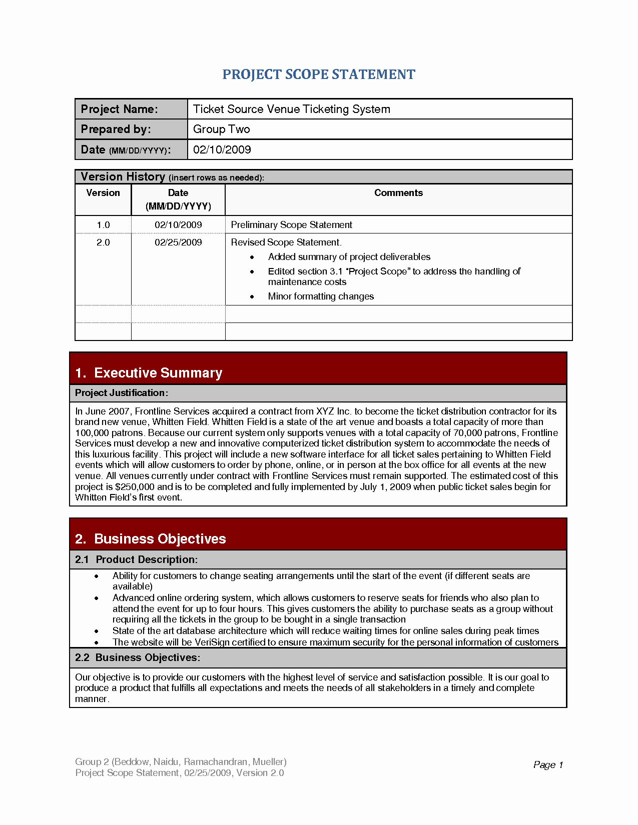 Project Scope Statement Template Unique Project Scope Template