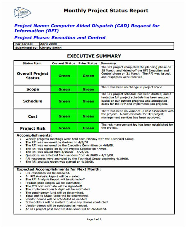 Project Status Report Template Beautiful 42 Monthly Report format Templates