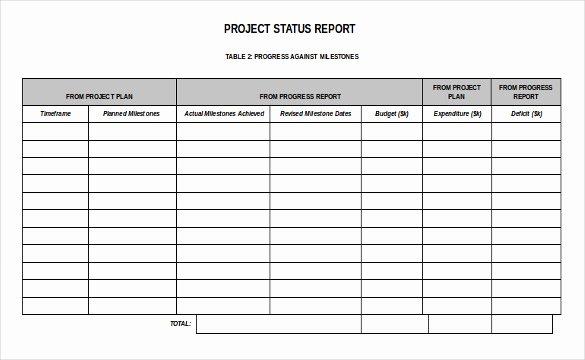 Project Status Report Template Fresh 19 Status Report Templates Free Sample Example