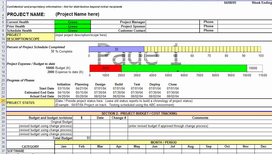 Project Status Report Template Lovely Project Status Report Template In Excel
