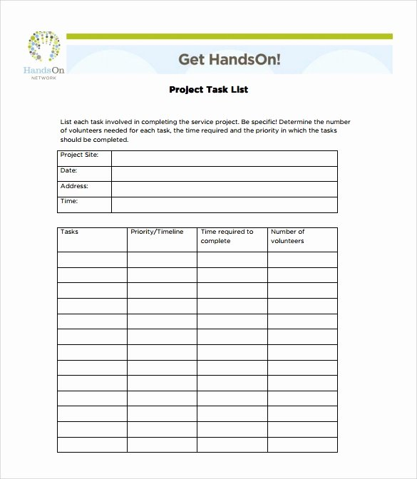 Project Task List Template Luxury Sample Task List Template 8 Free Documents Download In