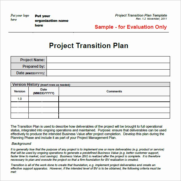 Project Transition Plan Template Awesome 9 Transition Plan Samples