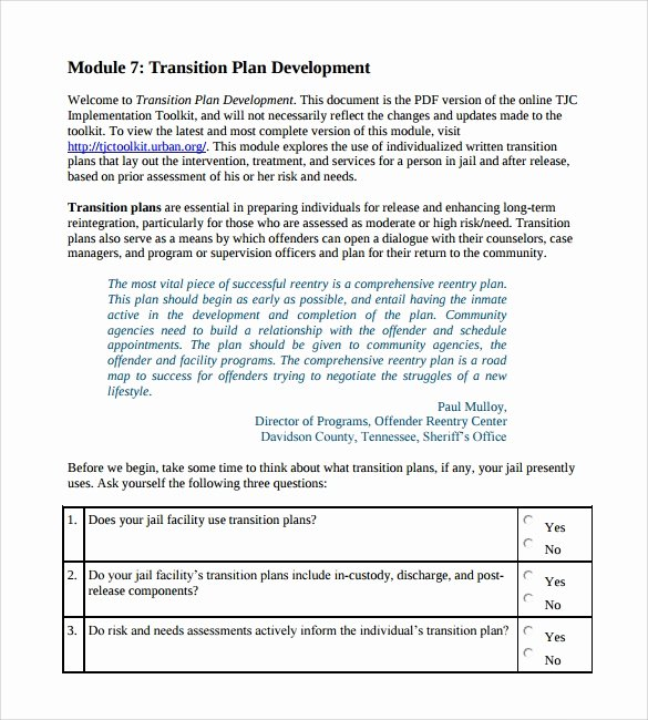 Project Transition Plan Template Elegant Transition Plan Template 9 Download Documents In Pdf