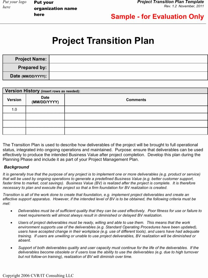 Project Transition Plan Template Luxury 8 Project Plan Templates Free Download