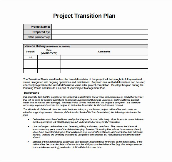 Project Transition Plan Template Luxury Transition Plan Template 9 Download Documents In Pdf