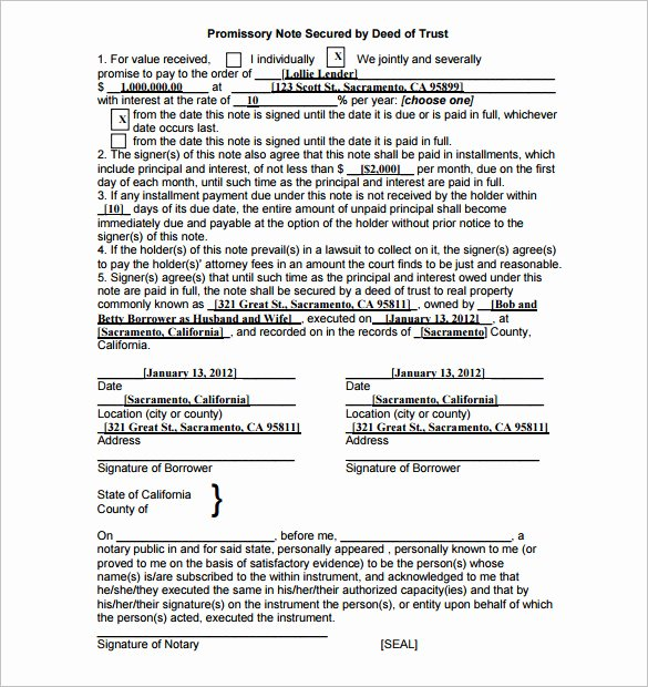 Promissory Note Template California Awesome 35 Promissory Note Templates Doc Pdf