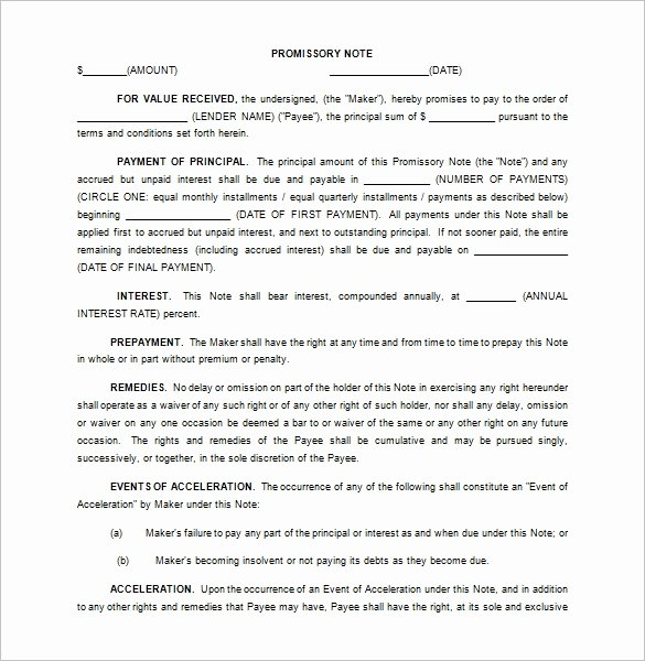 Promissory Note Template California Luxury 35 Promissory Note Templates Doc Pdf