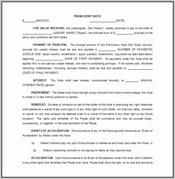 Promissory Note Template Florida Elegant Promissory Note Template Florida Free Template Resume