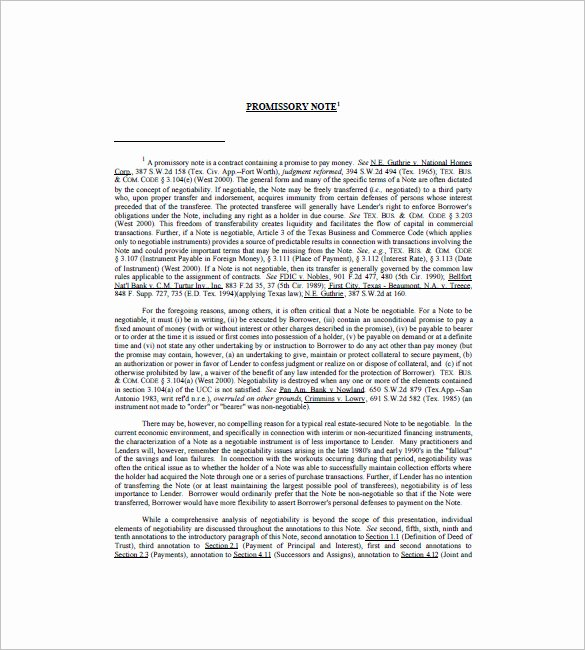 Promissory Note Template Texas Beautiful 8 Promissory Note Texas – Free Sample Example format