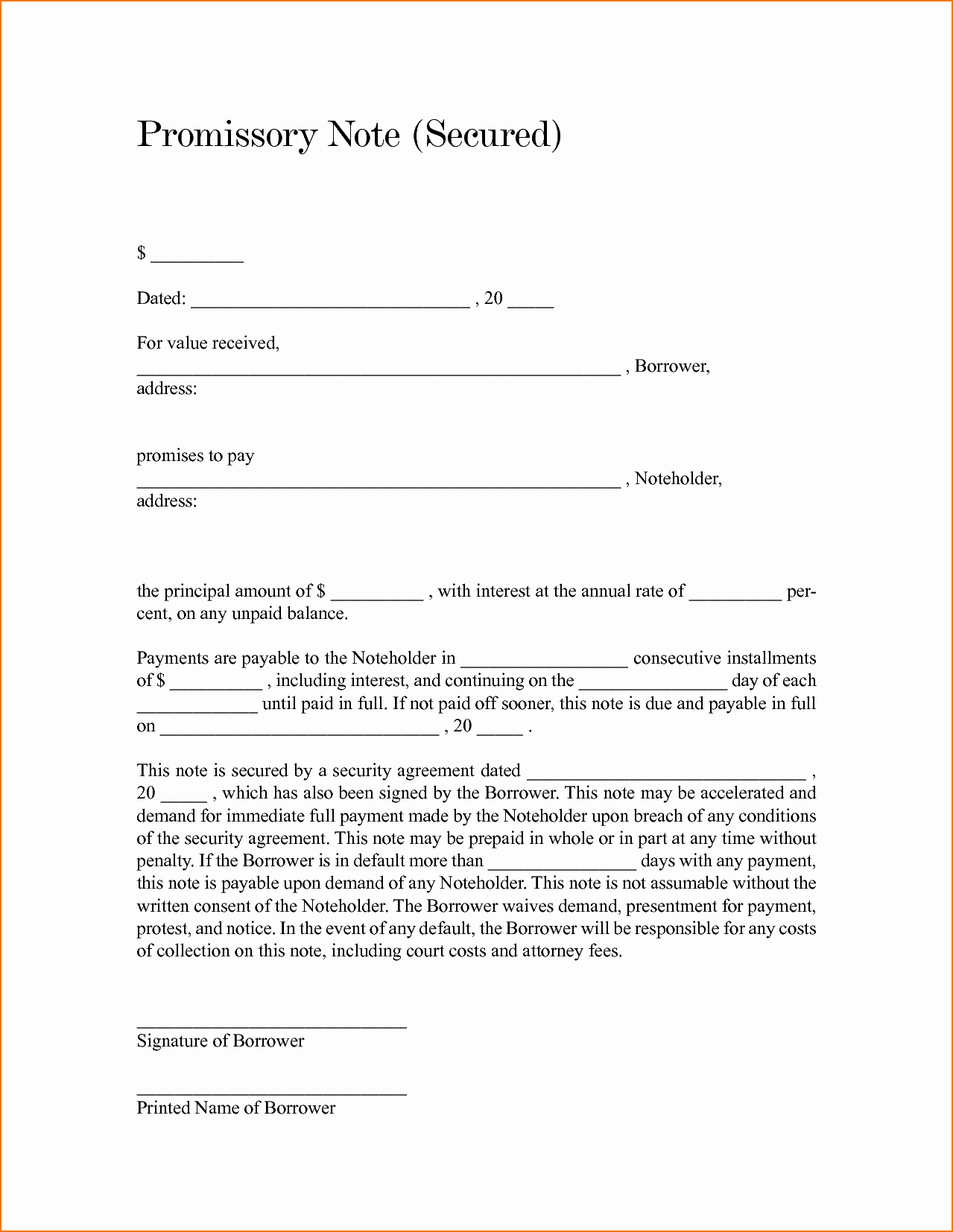 Promissory Note Template Texas Fresh 4 Secured Promissory Note Template