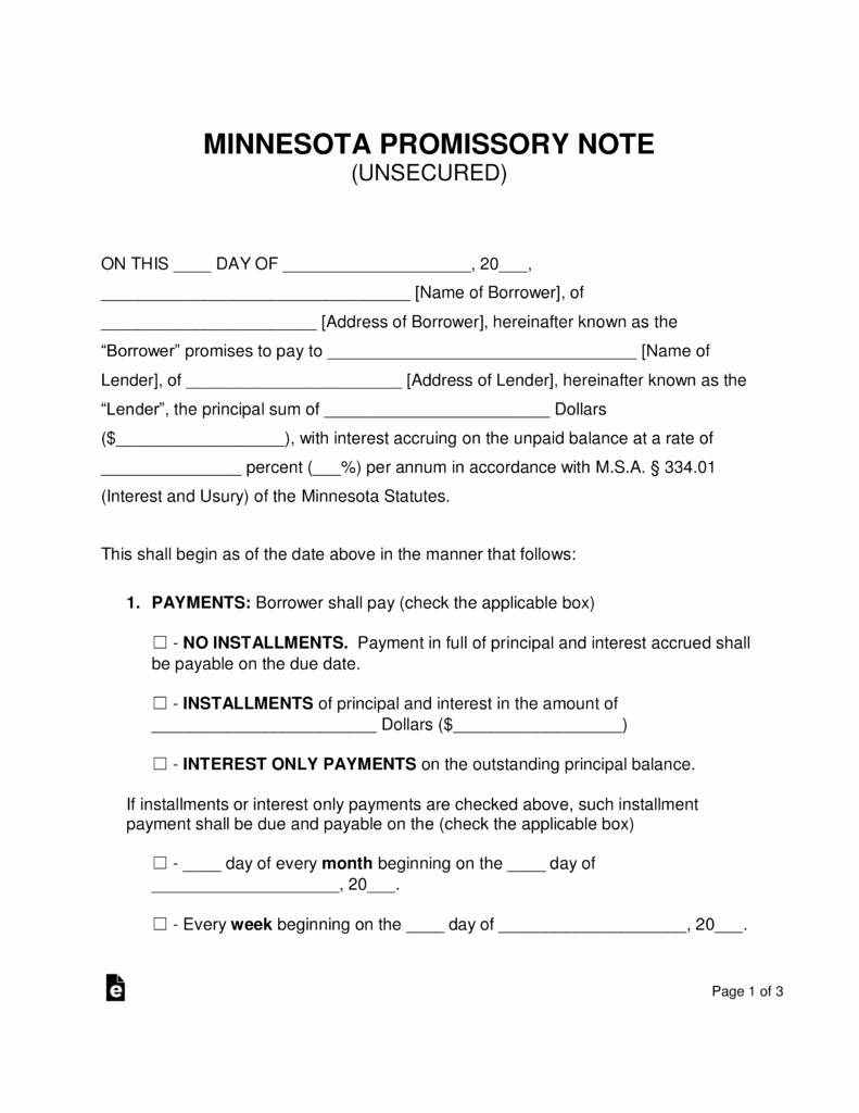 Promissory Note Template Texas Lovely Free Minnesota Unsecured Promissory Note Template Word