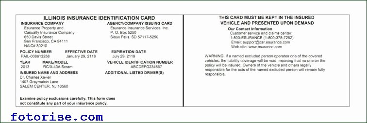 Proof Of Insurance Template Unique Free Fake Auto Insurance Card Template Car Insurance Card