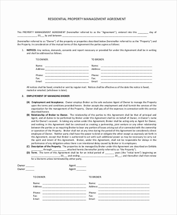 Property Management Agreement Template Awesome 8 Sample Property Management Agreements