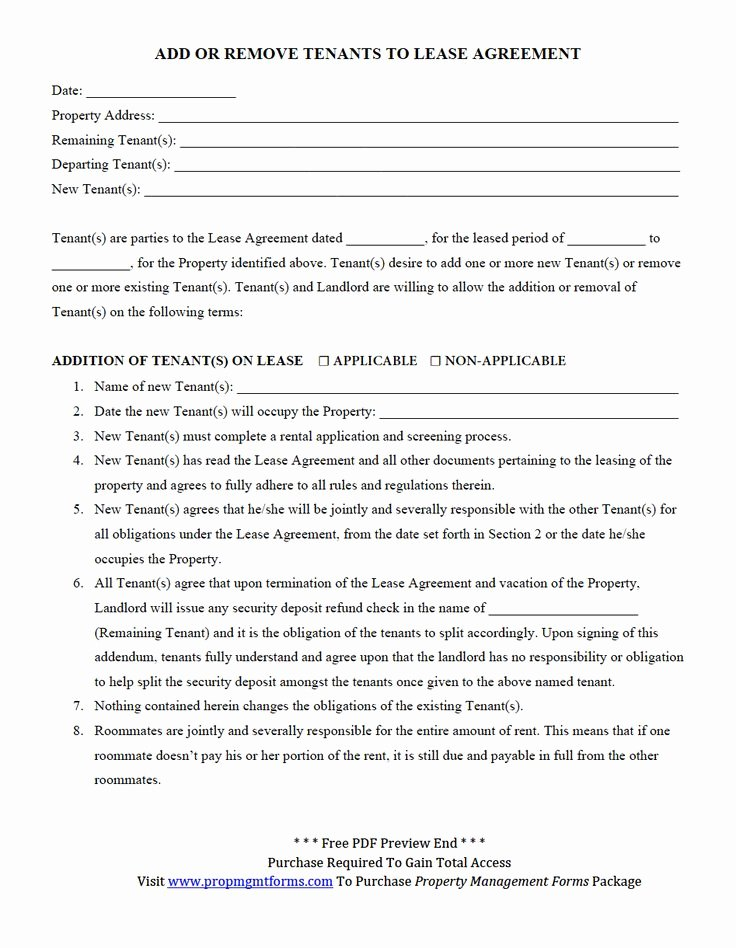 Property Management Agreement Template Beautiful Add or Remove Tenants to Lease Agreement Pdf
