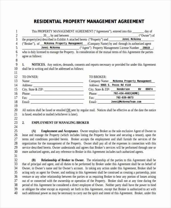 Property Management Agreement Template Fresh 58 Management Agreement Examples and Samples