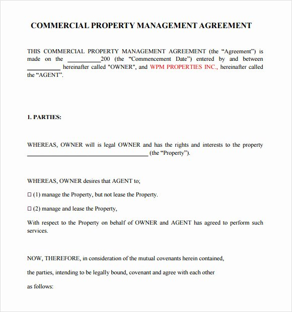Property Management Agreement Template Inspirational Property Management Agreement 10 Download Free