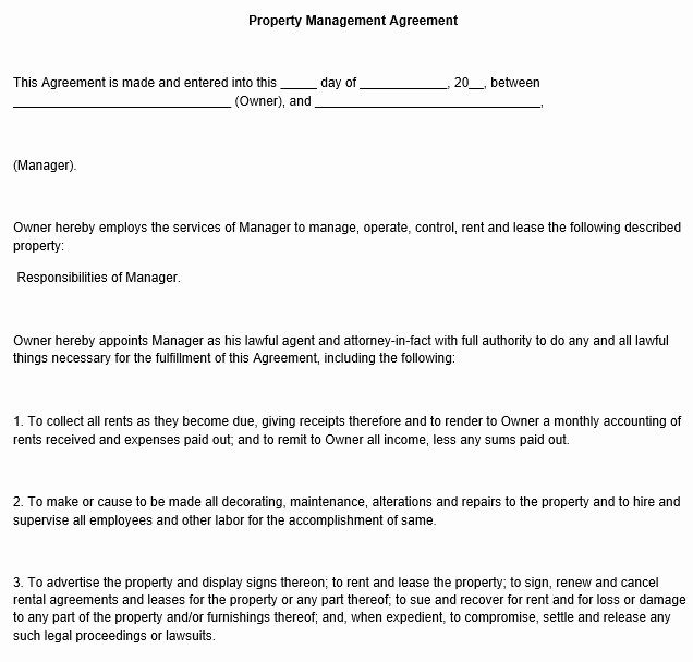 Property Management Agreement Template Inspirational Property Management Agreement Template
