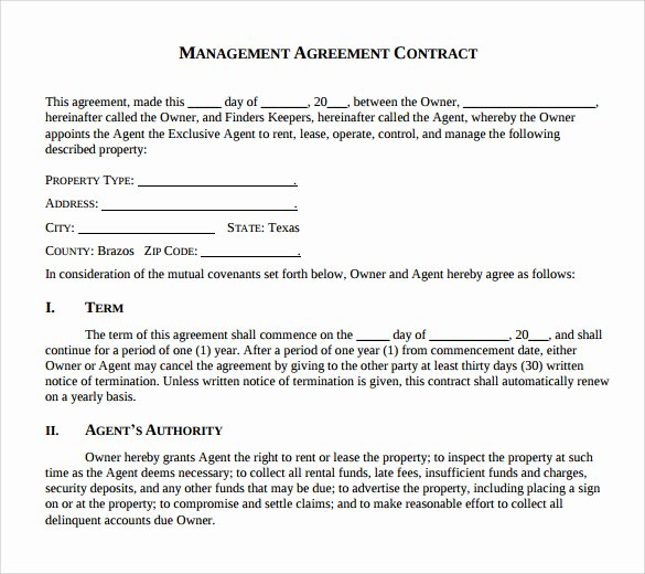 Property Management Agreement Template Lovely 12 Management Agreements to Download