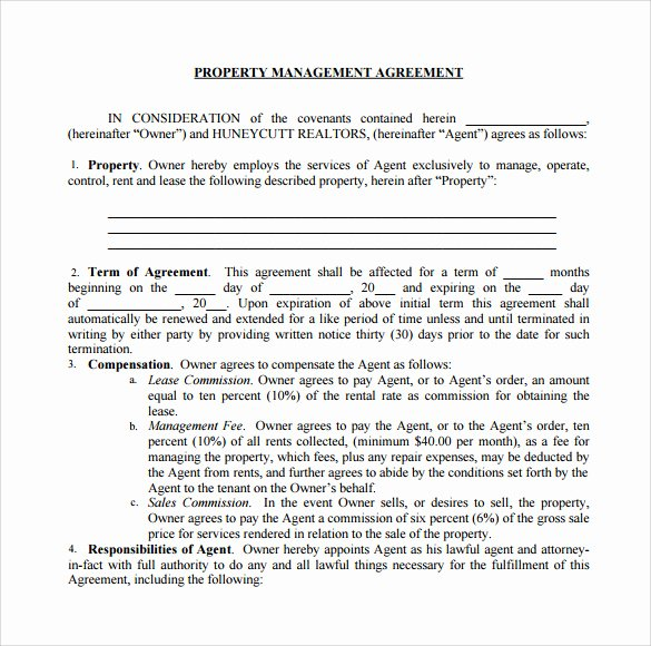 Property Management Agreement Template New 12 Management Agreements to Download