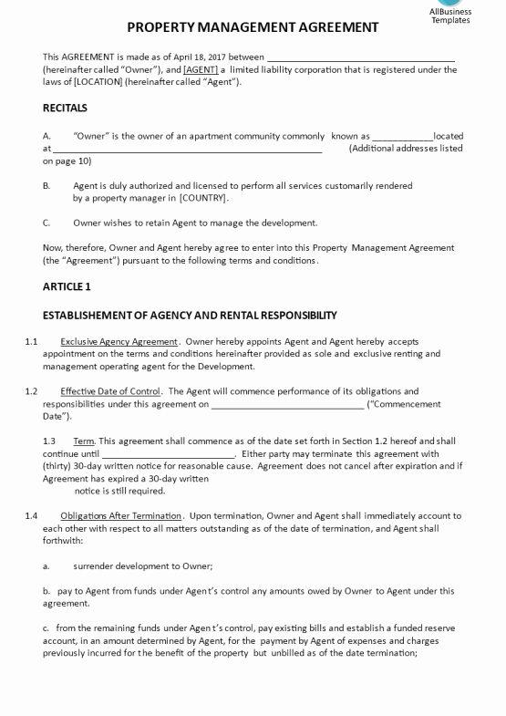 Property Management Agreement Template New Free Property Maintenance Log Template