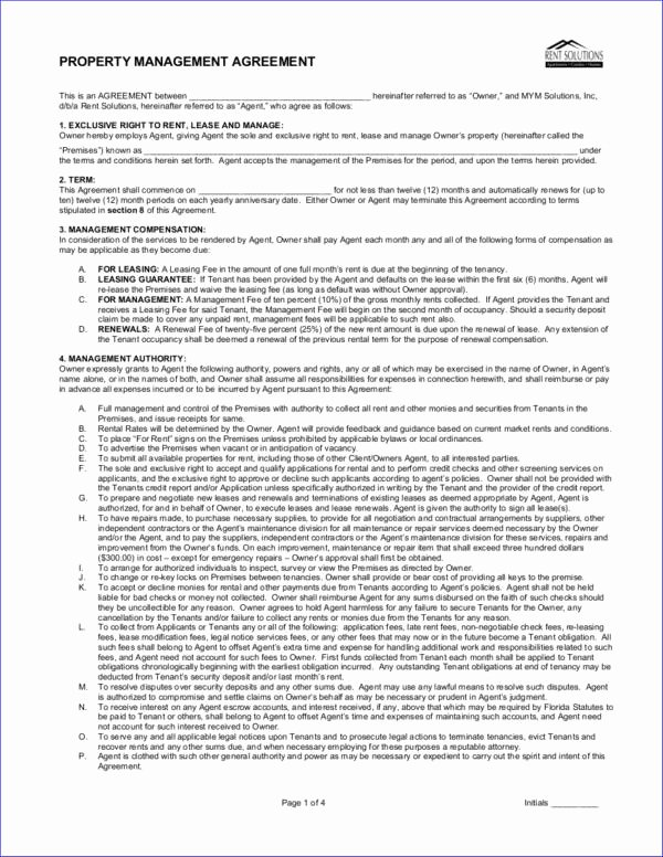 Property Management Agreement Template Unique 17 Management Contract Templates Pages Word
