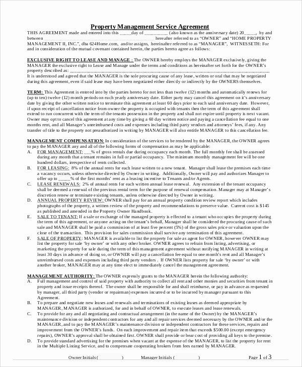 Property Management Agreement Template Unique 8 Sample Property Contract Agreements
